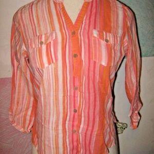 Orange White Stripe 3/4 Sleeve Button Shirt PL